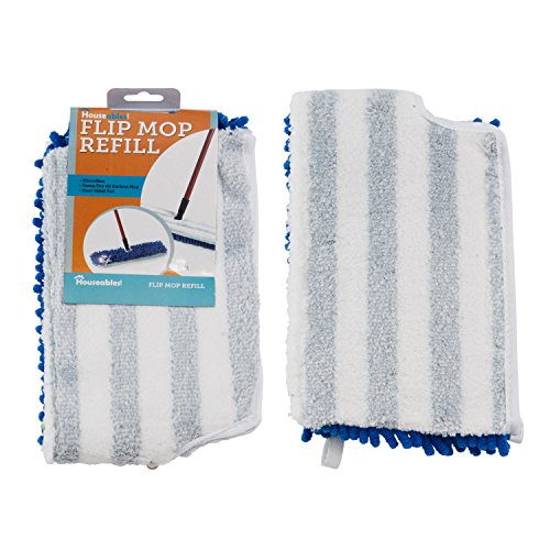 Houseables Flip Mop Refill, 18 Inch, Dual-Action Microfiber, Dry/Wet Replacement Pads, Machine Washable, Double Sided, Reusable, 18