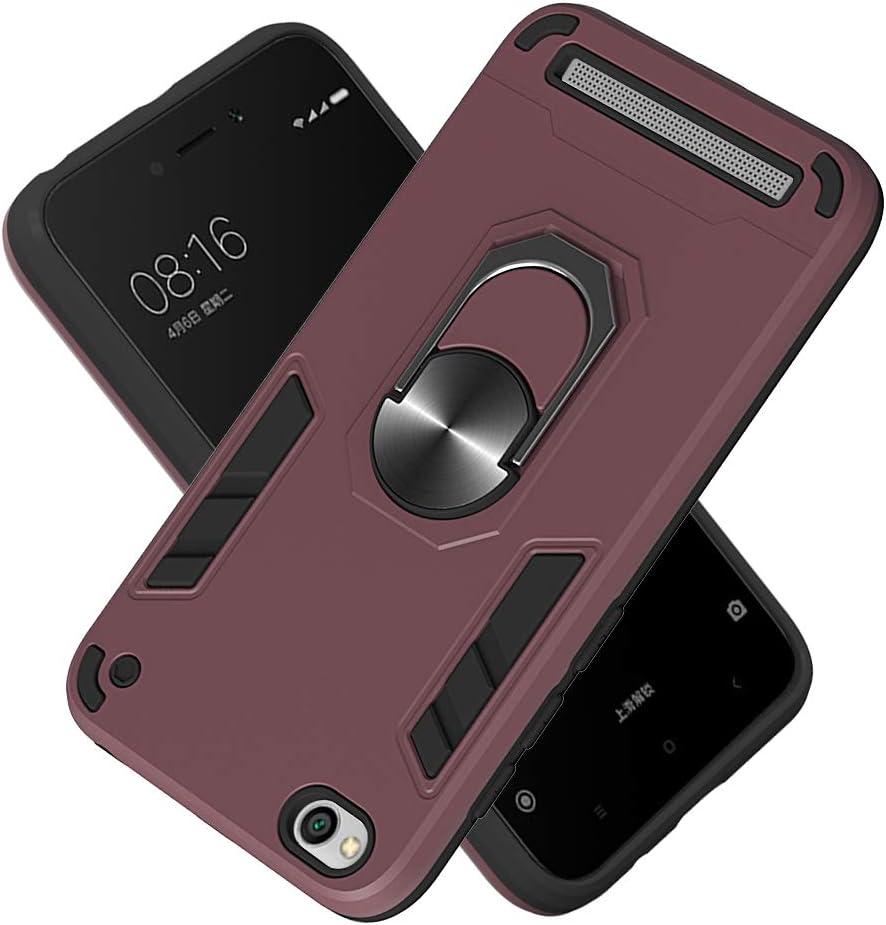 Funda para Xiaomi Redmi 5A Prime Soft TPU + Duro PC Doble Parachoques Cubierta a Anillo Soporte con Soporte y Carcasa Desmontable, Funda Protectora Serie Armadura (Granate)