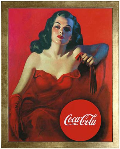 Coca-Cola. Lady in Red. Framed Vintage Advertising Reproduction Poster. Custom Made Real Wood Modern Scratched Gold Frame (17 1/8 x 21 1/8)