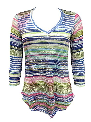 David Cline Online Woman's V-Neck Crushed Shirt. Super Soft Fabric. Fun Design, X-Large