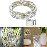 SOLMORE LED String Lights, 33ft/10M 100 LEDs Fairy Lights Firefly Lights Starry Lights Silver Wire Lights Battery Operated+Remote Control 8 Modes for Christmas Party Wedding Dance Decor Pure White