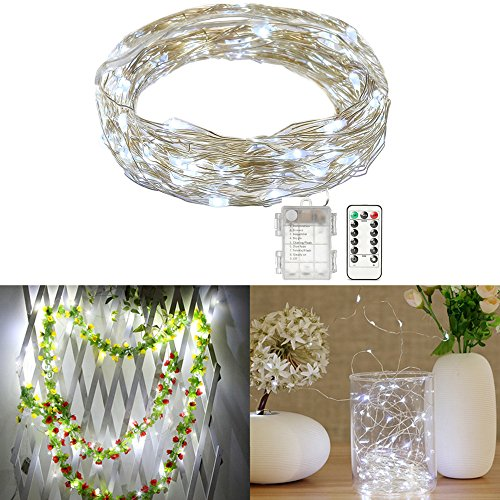 SOLMORE LED String Lights, 33ft/10M 100 LEDs Fairy Lights Firefly Lights Starry Lights Silver Wire Lights Battery Operated+Remote Control 8 Modes for Christmas Party Wedding Dance Decor Pure White by SOLMORE