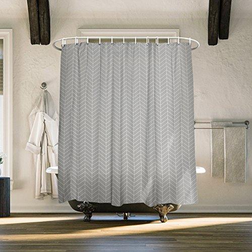 Vandarllin Gray Geometric Herringbone Design Fabric Shower CurtainExtra Long 72 X 96