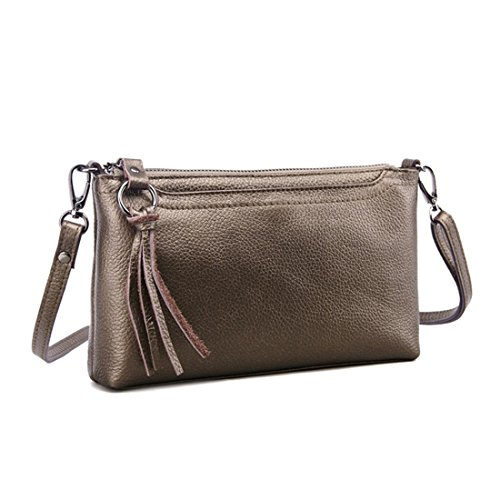 Artwell Women Genuine Leather Crossbody Bag Small Shoulder Bag Zipper Clutch Phone Wallet Purse for Lady (Bronze) by Artwell