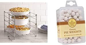 Betty Crocker 3-tier Oven Rack & Mrs. Anderson's Baking Ceramic Pie Crust Weights, Natural Ceramic Stoneware
