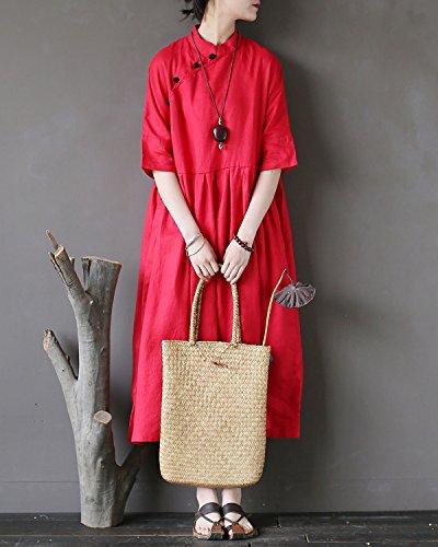 Dress Swing Dresses Elegant Party Aeneontrue Line Linen Waist Sleeve Pleated A Frog Vintage Half Red Buttons 100 Empire Women's qZqgwPT
