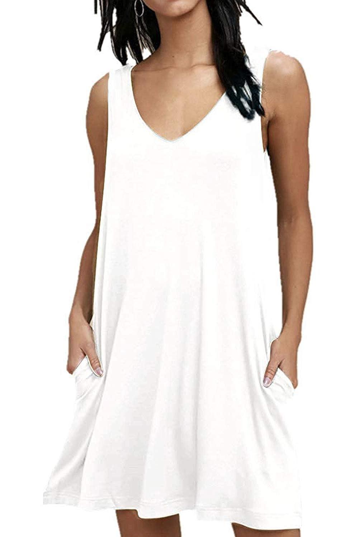 Damen Casual T-Shirt Kleider Lose Swing Kleider /Ärmelloses V-Ausschnitt Sommerkleider mit Taschen
