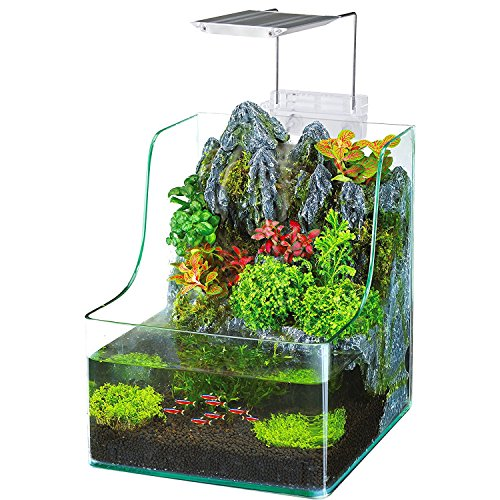 - Penn Plax Planting Tank With Aquarium, Waterfall, LED Plant Grow Light, Sponge Filter, 1.85 Gallon