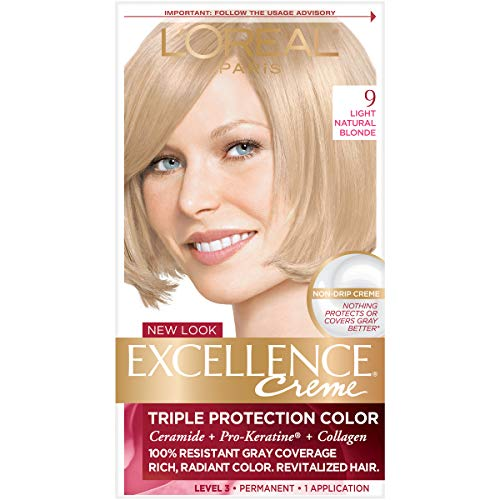 (L'Oréal Paris Excellence Créme Permanent Hair Color, 9 Light Natural Blonde, 1 kit 100% Gray Coverage Hair Dye)