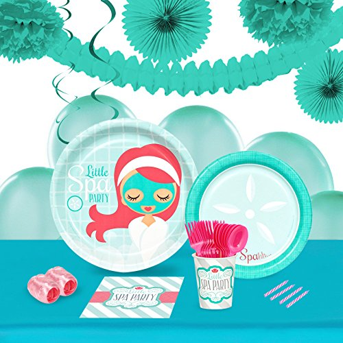 BirthdayExpress Little Spa Party Supplies - Tableware and Decoration Party Pack for 16 Guests