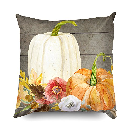 Shorping Zippered Pillow Covers Pillowcases 20X20Inch 2 Pack watercolor white pumpkin red poppy fall leaf wood Decorative Throw Pillow Cover Pillow Cases Cushion Cover for Home Sofa Bedding by Shorping (Image #3)