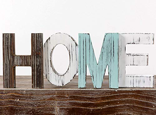 TIMEYARD Wooden HOME Sign - Decorative Cutout Wood Words - Rustic Home Decor - Multicolor, Distressed, Freestanding, Displays Beautifully on Book Shelf, Mantel, Centerpiece, Table, Desk, etc. -