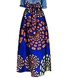Vska Womens African Print Bowtie Waist Big Pendulum Stylish Long Skirt 11 2XL
