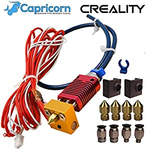 Authentic Creality Assembled Hotend Kit for Ender 3, Ender 3 pro, Ender 5, Ender 5 pro with Capricorn PTFE and Upgraded Pneumatic Fittings, Thermistor, Heating Element, MK8 Sock and 4 Extra Nozzles. 5