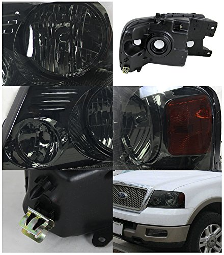 Ford F150 Smoked Crystal Head Lights Lamps Pair