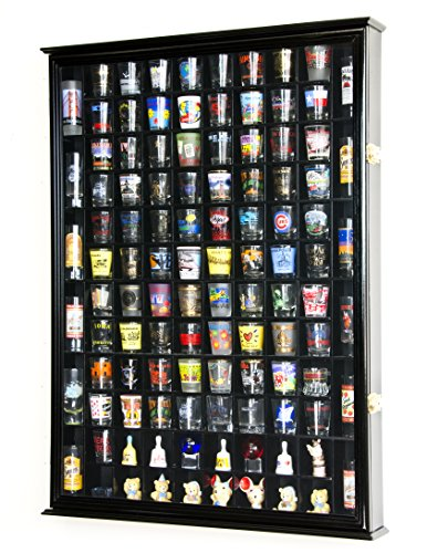 - 108 Shot Glass Shotglass Shooter Display Case Holder Cabinet Wall Rack 98% UV Double Door -Black