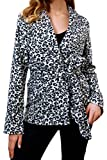 Twcx Women Sexy Lapel Wrap Winter Leopard Print Stylish Jacket Coat with Belt Grey S