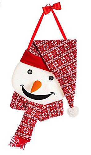 Evergreen Nordic Snowman Outdoor Safe Felt Door Decor ()