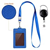 #6: Life-Mate ID Cards Badge Holder with 1 ID Window and 2-sided 3 Slot and Lanyard Neck Strap Band. Additional Heavy Duty Metal Retractable Badge Reel with Belt Clip (Blue, Linen Finish)