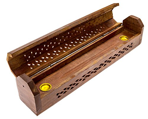 Alternative Imagination Carved Net Design - Wooden Coffin Incense Burner for Incense Sticks and Cones, with Storage Compartment