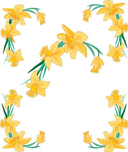 4 Corner Images-Yellow Daffodil Flowers -Etched Vinyl Stained Glass Film, Static Cling Window Decal - Stained Glass Daffodil