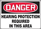 Accuform MPPE219VA Sign, Danger-Hearing Protection Required In This Area, 7x10'', Aluminum; 1/Pk
