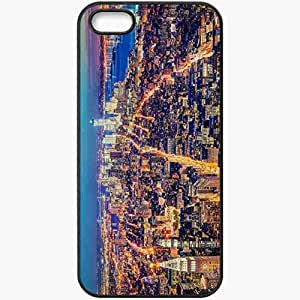 Protective Case Back Cover For iPhone 5 5S Case New York Evening Lights Black