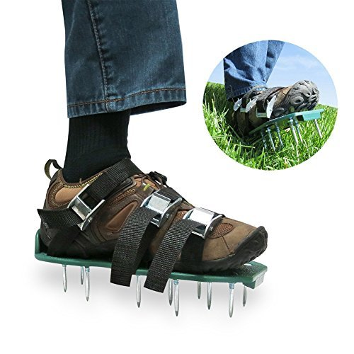 CFTech Lawn Aerator Shoes Heavy Duty Spiked Sandals 3 Straps and Metal Buckles for Aerating Your Lawn or Yard