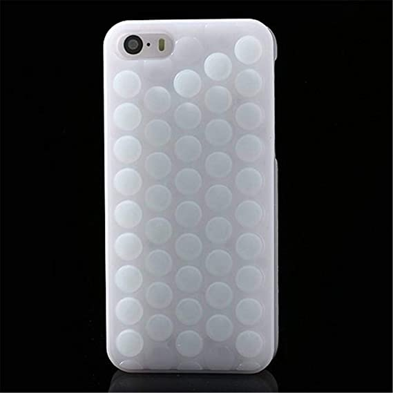 first rate 7fbd7 62bd4 GIZEE Funny Cute Popping Decompression Bubble Wrap Back Soft Silicone Puchi  Puchi Case Cover for iPhone 5 5s (White)