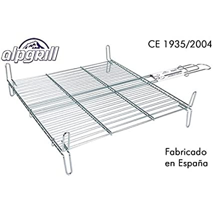 Alpgrill - Parrilla Barbacoa Doble zin, 45x50cm.
