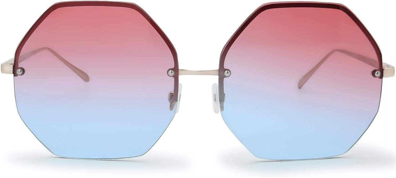New Desinger Style Large Hexagonal Sunglasses  Ladies Womens Reflective Lot