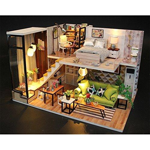 LULAA ドールハウス ミニチュア 手作りキット セット 現代モダン 北欧風 インテリア お洒落な二階建ての家 LEDライト 音楽ボックス