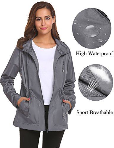 Casual Jackets for Women,Rain Wind Proof Coats with Hood in Hiking Travel Sports -