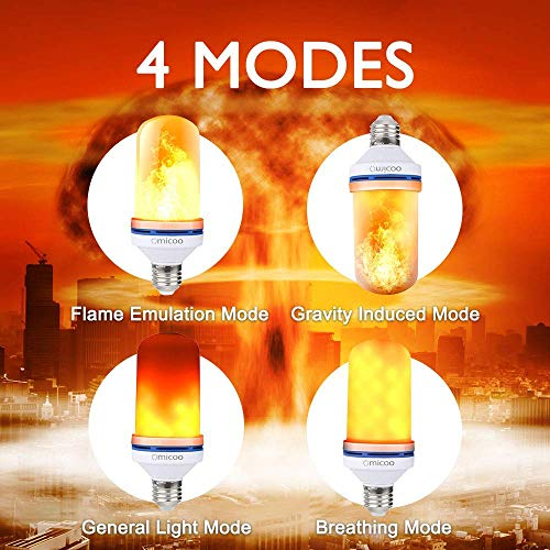 Omicoo LED Flame Effect Light Bulb,4 Modes Flame Light Bulbs with Gravity Sensor, E26 A19 Base Fire Light Bulbs , Flickering Light Bulb for Indoor/Outdoor /Christmas Decoration (2 Pack)