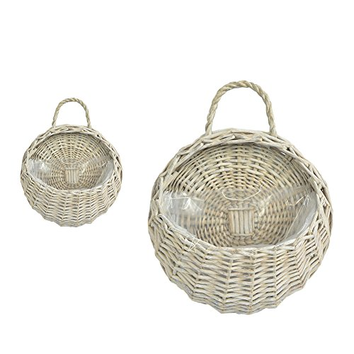 Hanging Planters, Hand Made Wicker Rattan Flower Basket Holders,Vine Wire Plant Pot Vase Container for Home Garden Balcony Decoration