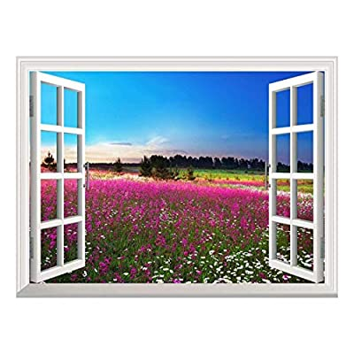 Removable Wall Sticker/Wall Mural - Sunrise Over a Blossoming Field | Creative Window View Wall Decor - 36