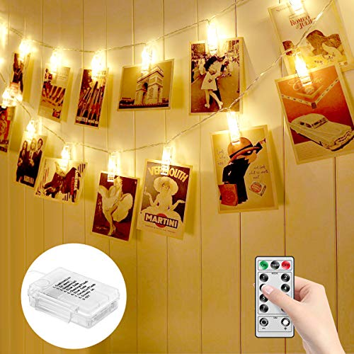 MINGER Photo Clips String Lights Holder, Indoor Fairy Lights for Hanging Pictures and Cards, Ideal Thanksgiving Wall Decorations for ()