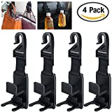 4 Pack Car Headrest Hook, YuCool Universal Vehicle Car Back Front Seat Hanger ,Organizer for Handbags, Purse,Groceries bag and Bottle Holder - Black
