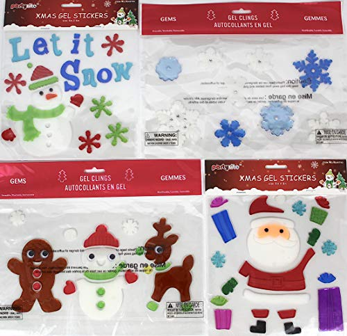 Holiday Christmas Gel Clings: Winter Snowmen Snowflake Reindeer Gingerbread Santa Claus Decorations with Google Eyes and Gems for Home Office Windows Mirrors and More! ()