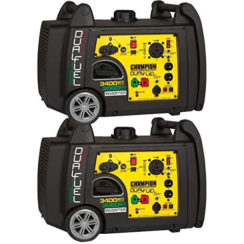 Champion 3400 Watt Portable Electric Start Dual Fuel Inverter Generator (2 Pack)