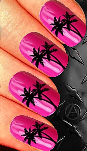 alternailtive Palm Tree Nail decals for nail Art Transfer Decal Wrap for False Acrylic Gel or Natural Nails d112 holiday vacation nails - Palm Tree Nail Art