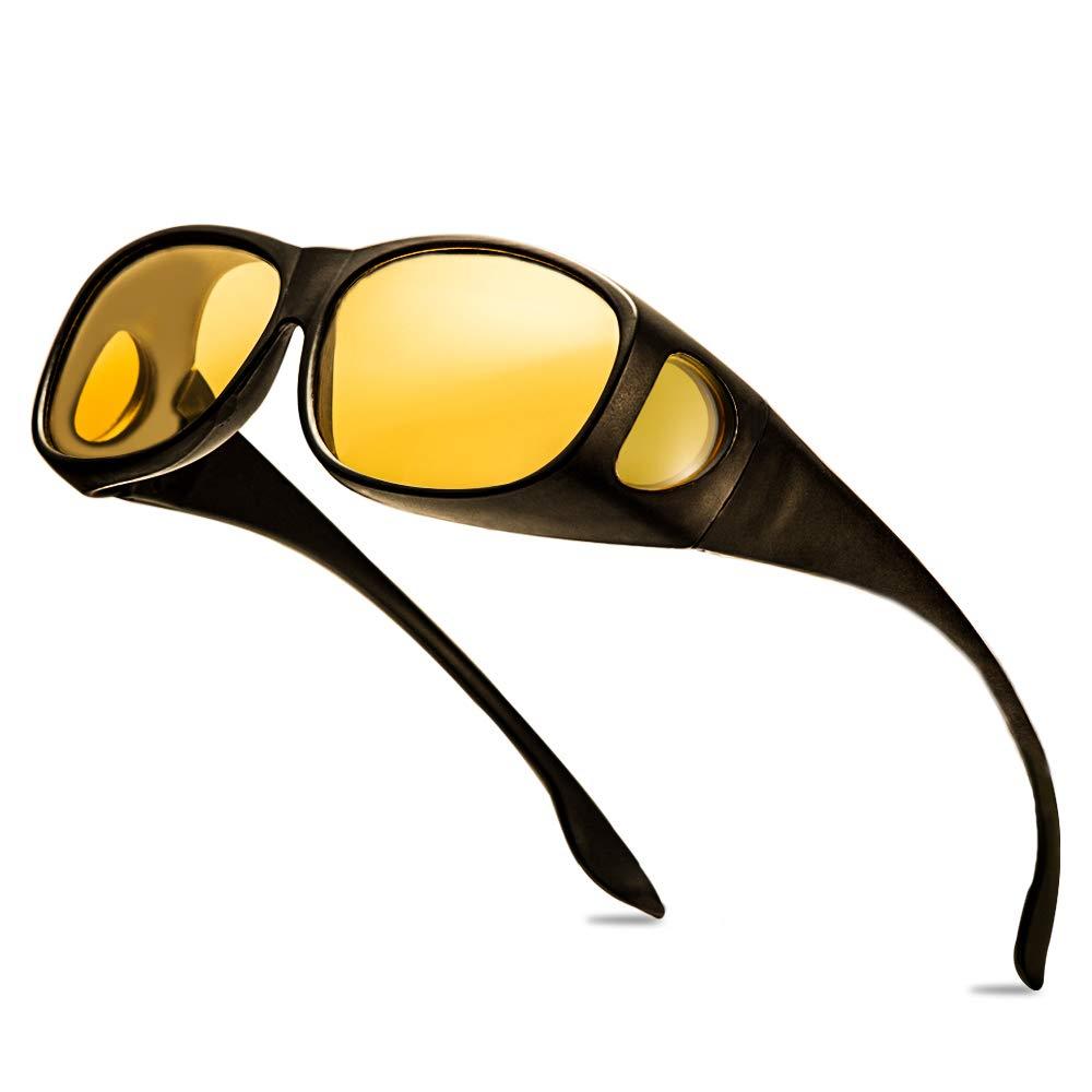 Best Night Driving Over anteojos de sol – para hombres y mujeres/Wrap Around Prescription Eyewear/Polarized Yellow Lens/Anti-Glare UV 400 Protección/Envoltorio de regalo