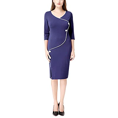 OKLICH Women's Business 3/4 Sleeve Wear to Work Career Pencil Dress at Women's Clothing store