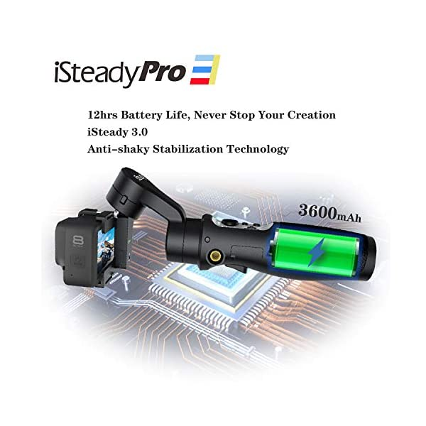 Hohem iSteady Pro 3 Action Camera Gimbal Stabilizzatore cardanico palmare Gimbal 3 assi IPX4 antispruzzo compatibile con GoPro Hero 8/7/6/5/4/3, DJI OSMO Action, Insta360 one R, SONY RX0 3 spesavip
