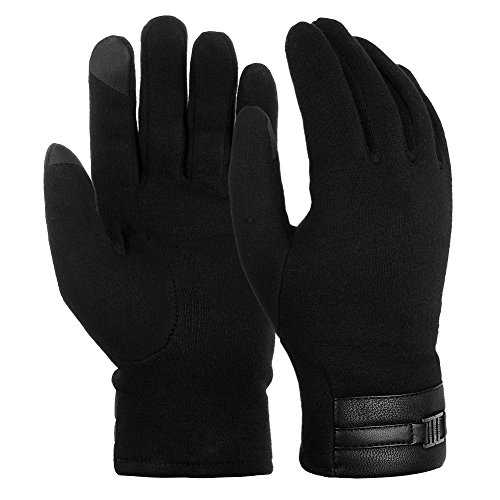 Vbiger Winter Warm Gloves Touch Screen Gloves Casual Gloves Texting Mittens for Men and Women (L, Black)