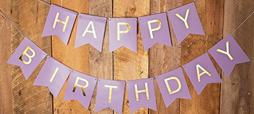 Sonder & Co Happy Birthday Banner - Purple and Gold Foil Letters, Birthday Decorations for Girls