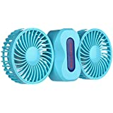 ClearUmm Mini USB Dual Blade Twin Fan,Cooling Couple Fun,Any Angle Rotating (Blue)