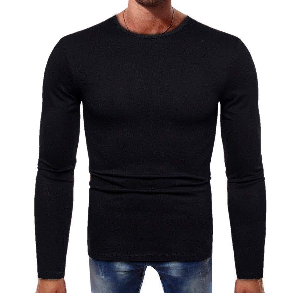 PASATO Men Long-Sleeve Splicing Button Basic Solid Pure Color Blouse Tee Shirt Top()(Black, M)