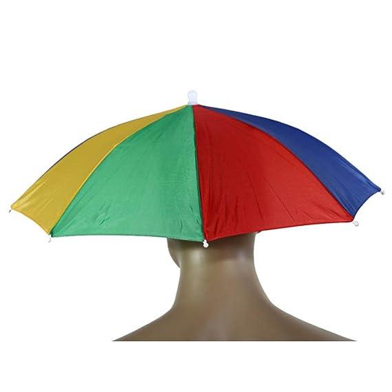 Wa Paraguas del Sombrero de Sol Pesca que Acampa de Senderismo Festivales al Aire Libre sin Manos del Paraguas del Para sol del Casquillo del Sombrero: ...