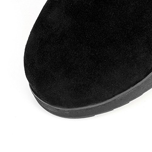 Svart Solide Runde top Allhqfashion Kvinners Mid Lave Lukket Toe Støvler Frostet Hæler zPUTaq